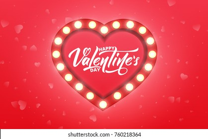 Valentines Day. Banner for Valentine's Day sale, promotion, discounts etc. Valentine's background with script lettering and marquee glowing heart