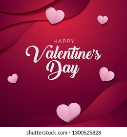 Valentines Day banner template, love heart paper art greeting card , suitable for website or social media post and marketing material