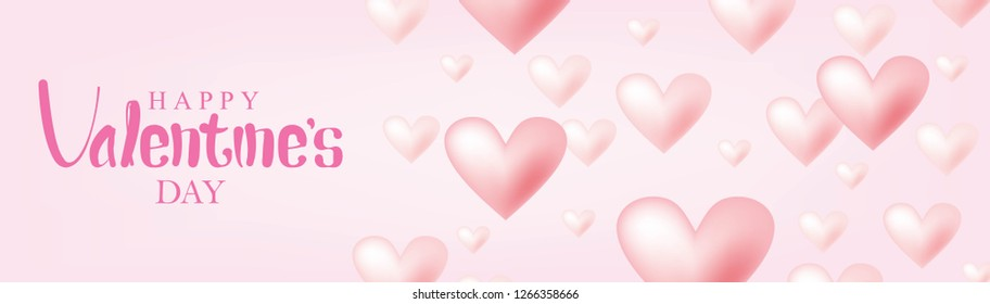 Valentine's Day Banner Vector Design. Happy Valentine's Day with Flying Pink Hearts Isolated in Pink Background