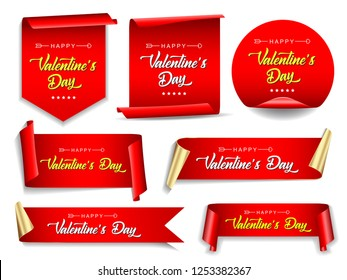 Valentines day banners set. Ribbons and round sticker. Paper scrolls. Vector illustration.