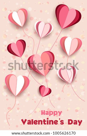 Valentines Day Beautiful Background Wallpaper Cutting Stock Vector