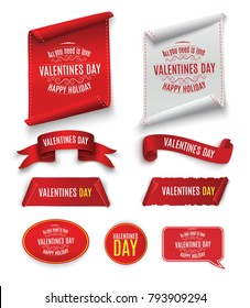 Valentine's Day. Beautiful red scrolling. A set of banners. Twisted paper. For advertising. Striped, gold and red ribbon on white background for congratulations for February.