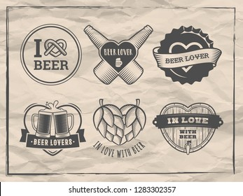 Valentines day beer logos. Craft beer lover badges. Vector stickers with hearts, bottles, mugs for bar or pub on vintage paper background.