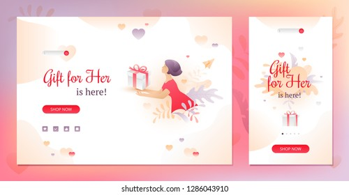 Valentine's day beige sale promotional banners with Gift for Her words, young woman with a gift box and call-to-action buttons. Desktop and mobile versions. Nicely organized vector EPS10.