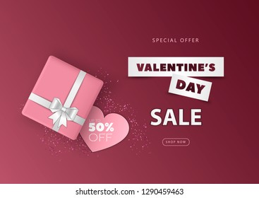 Valentine's Day big sale banner with 3d gift box and paper hearts. Concept for design Valentine's day banner, postcards, posters, coupons, promotional material. Vector.
