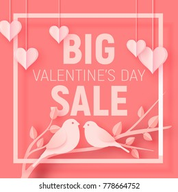 Valentine's day big sale offer, banner template. Pink paper art heart and birds with lettering. Shop market poster design. Vector