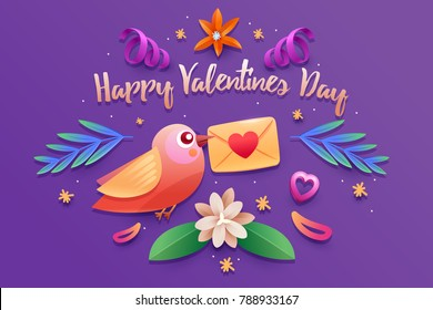 Valentine's Day bird poster.Typography.Vector illustration. Set of flowers and colored leaves.