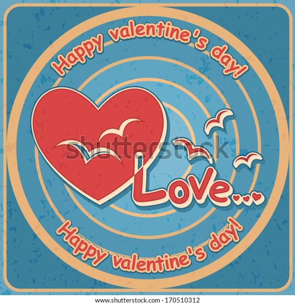Valentines day, Birds in the heart, Vector retro banner