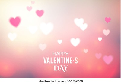 Valentine's Day Blur & Glow Background with Hearts. Vector illustration