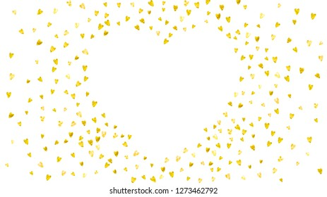 Valentines day border with gold glitter hearts. February 14th day. Vector confetti for valentines day border template. Grunge hand drawn texture. Love theme for special business offer, banner, flyer.