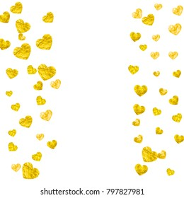 Heart Border Background Gold Glitter Valentines Stock Vector