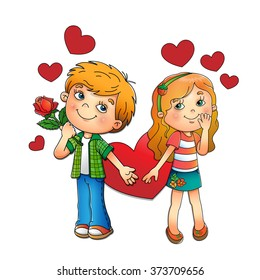 Valentine's day. Boy and girl with hearts isolated on white background. Cartoon. For kids.