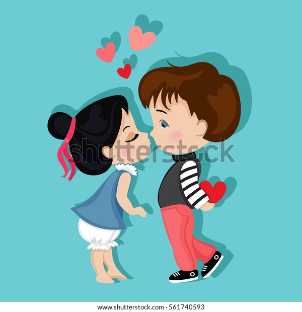 Valentine's Day. Boy and girl kissing. Love card.