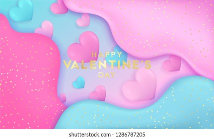 Valentine's day bright futuristic horizontal colorful background with 3D abstract liquid layers paper cut waves realistic love hearts. 14 february vector design layout for banners, posters, wallpapers