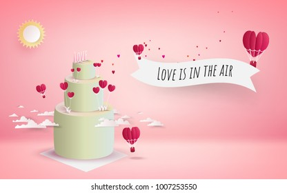 valentine's day cake with heart flowers and flying red hearts. pink background, 3d, Vector illustration. Wallpaper, flyers, invitation, posters, brochure, banners.
