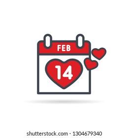 Valentine's Day calendar. February 14th illustration