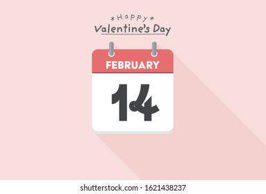 Valentine's day, Calendar, February concept. Simple and stylish Vector design illustration. February 14th Calendar on Happy Light pink background.