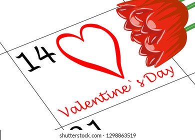 Valentine`s Day Calendar with Flowers