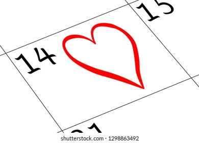 Valentine`s Day Calendar with Heart