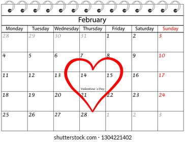Valentine`s Day Calendar with Heart Frame