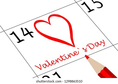 Valentine`s Day Calendar with Heart and Pen