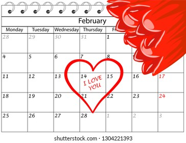 Valentine`s Day Calendar I love You with flowers