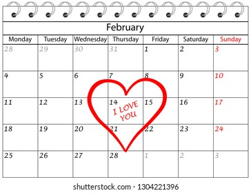 Valentine`s Day Calendar I love You with Heart Frame