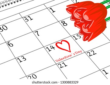 Valentine`s Day Calendar Page with Heart and Flowers
