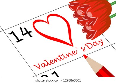 Valentine`s Day Calendar with Pen and Flowers