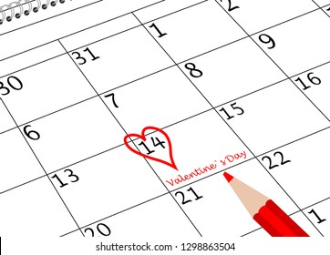 Valentine`s Day Calendar Sheet with Heart and Pen