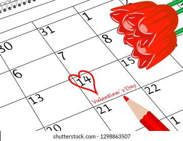 Valentine`s Day Calendar Sheet with Heart Pen and Flowers