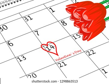 Valentine`s Day Calendar Sheet with Heart and Flowers