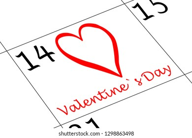Valentine`s Day Calender with Heart and writing