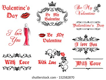 Valentines Day Elements Decorations Holiday Design Stock