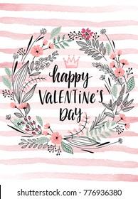 Valentine`s Day Callygraphic Wreath - hand drawn Vector illustration.
