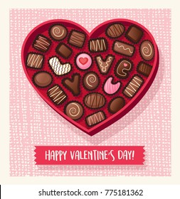 Valentines Day Candy. Heart shaped valentines day candy box with chocolate bonbons that spell Love You. Vector illustration.