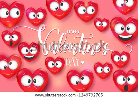 Valentines Day Card 3 D Love Emoji Stock Vector Royalty Free