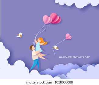 Valentines day card. Abstract background with couple in love flying, hearts balloons and blue sky. Vector illustration. Paper cut and craft style.