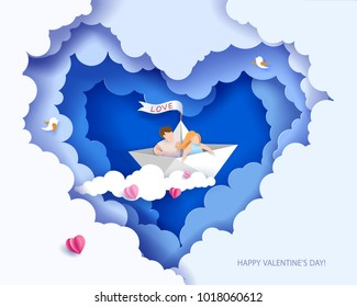 Valentines day card. Abstract background with couple in love in paper boat, heart and blue sky. Vector illustration. Paper cut and craft style.