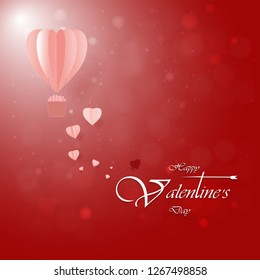 Valentine's Day card. Abstract background with heart shaped balloons floating in the red sky. Paper cut.