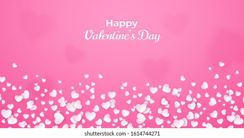 Valentine's day card, abstract pink background with white hearts floating and bokeh. Heart confetti template for greeting card, invitation, poster or flyer. Vector romantic illustration.