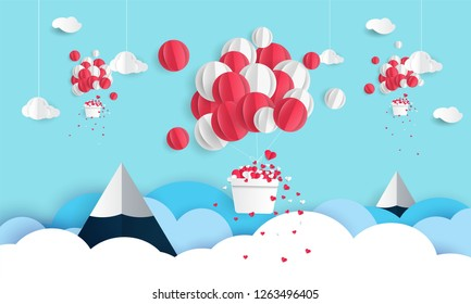 Valentines day card with air balloon, floating heart in paper cut style.