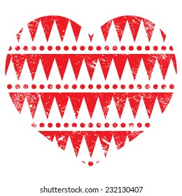 Valentine's Day card - Aztec tribal pattern red heart