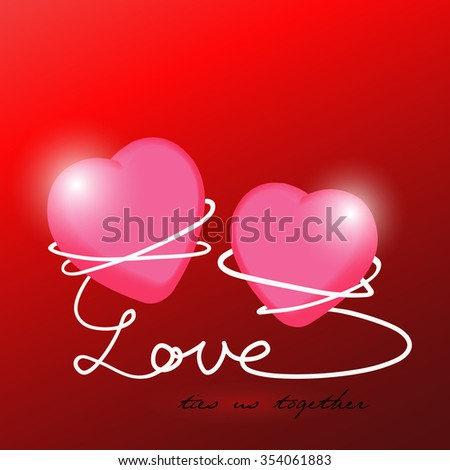 Valentines Day Card Background Two Hearts Stock Vector Royalty Free