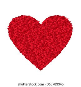 Valentine's day card. Big red heart made of sparkling little hearts