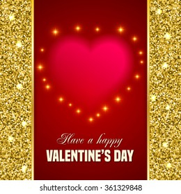 Valentines Day Card Blurred Heart Glitter Stock Illustration