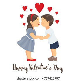 Valentine's Day Card. Boy and girl kissing and holding hands.