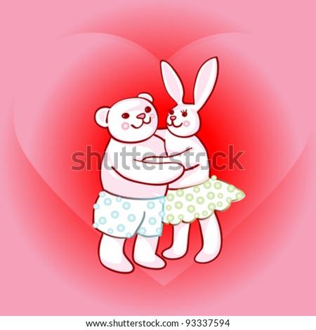 Valentines Day Card Bunny Teddy Bear Stock Vector Royalty Free