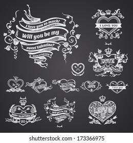 Valentine's day card concept. Set of vintage hearts. Vector vintage baroque engraving floral scroll filigree design.