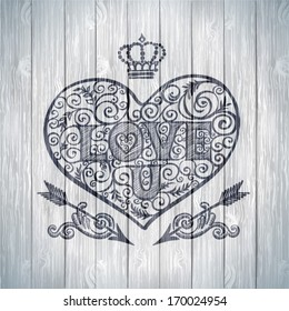 Valentine's day card concept. Vector vintage baroque engraving floral scroll filigree design with ribbons and heart.